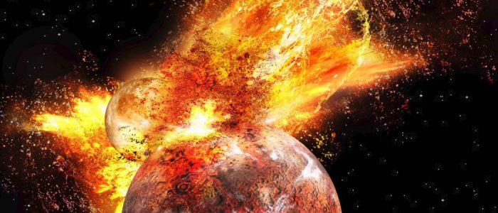 Kuu syntyy kosmisessa törmäyksessä.